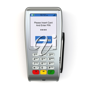 POS terminal  isolated on white background.  3d