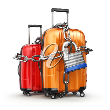 Luggage with chain and lock. Security and safety of baggage or end of travelling concept. 3d