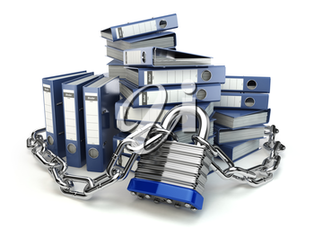 File folder and chain with lock. Data and privacy security. Information protection. 3d