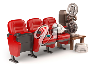 Cinema, movie or home video concept. Seats with reels, popcorm and  projector isolated on white. 3d