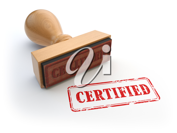 Stamp with text certified isolated on white. Certification or guarantee certificate concept. 3d
