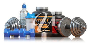 Whey protein with dumbbells and shaker isolated on white. Sports bodybuilding  supplements or nutrition. Fitness or healthy lifestyle concept. 3d illustration