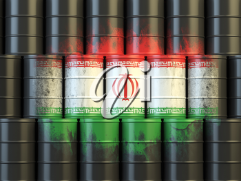 Iranian oil fuel energy concept. Iranian flag painted on oil barrels. 3d illustration