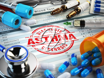 Asthma diagnosis. Stamp, stethoscope, syringe, blood test and pills on the clipboard with medical report. 3d illustration