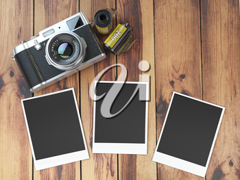 Retro camera, empty photo frames pictures and film canisterrs  on wood table. 3d illustration