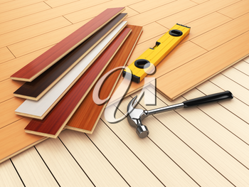 Laying hardwood parquet concept. Hammer and level on the floor. 3d illustration