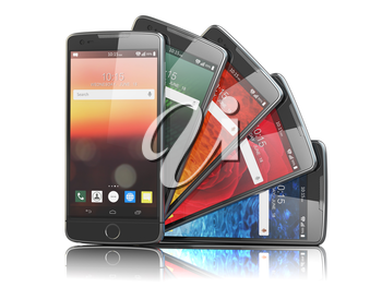 Smartphones with different screens isolated on white. Mobile communications concept. 3d illustration