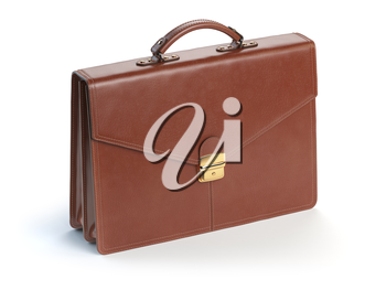 Brown leather briefcase isolated on the white background. 3d illustration