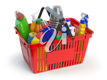 Detergent bottles and cleaning supplies in shopping basket  isolated on white background. 3d illustration