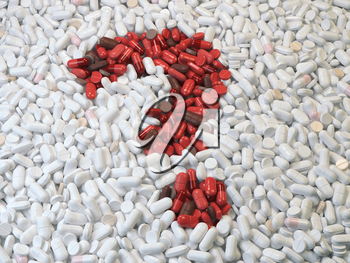 Question mark  from red pills and capsules  on white background. Medical and drug issues concept. 3d illustration