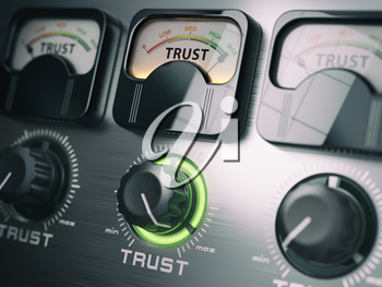 Trust concept. Trust switch knob on maximum position. 3d illustration