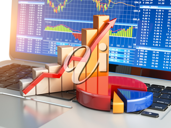 Stock market online business concept. Graph and diagram on laptop keyboard with stock market chart on the screen. 3d illustration