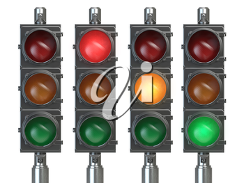 Traffic lights isolated on white background. 3d illustration
