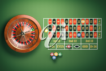 Casino roulette wheel with casino chips on green table. Gambling background. 3d illustration