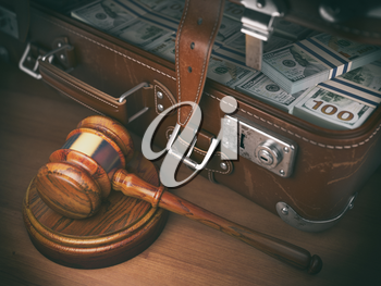Gavel and suitacse full of money. Concept of corruption, business crime or paying an auction. 3d illustration