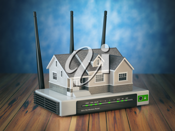 Home wireless network. House and wi-fi router on wooden table and blue background. 3d illustration