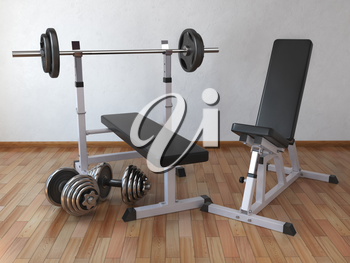 Barbell bench with weight dumbbells in the home. 3d illustration