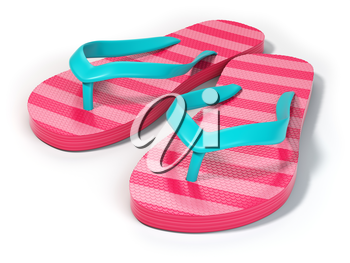 Pink flip flops isolated on white background. 3d illustration