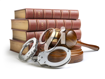 Judge gavel and handcuffs with legal book isolated on white background. Law and justice concept. 3d illustration