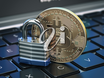 Cryptocurrency bitcoin coin and padlock lock on computer keyboard. Internet security and protection concept. 3d illustration
