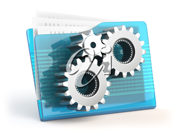 Folder sign with geras icon. Settings, database or archive concept. 3d illustration