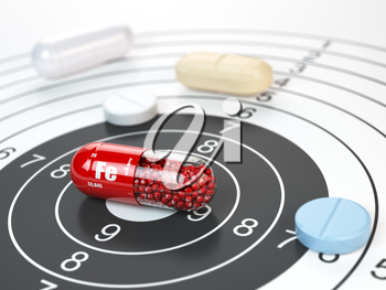 Pill with iron FE ferrum element in the center of target.Dietary supplements, vitamines and nutritional concept. 3d illustration