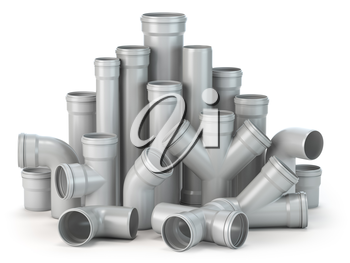 Plastic pvc pipes  isolated on the white background. 3d illustration