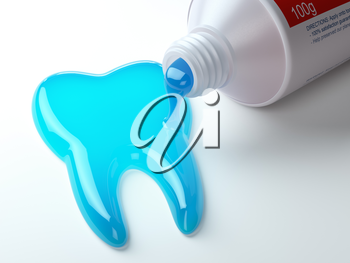 Toothpaste in the shape of tooth coming out from toothpaste tube. Brushing teeth dental concept. 3d illustration