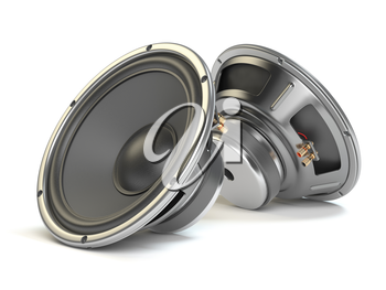 Sound speakers. Multimedia acoustic  loudspeakers isolated on white  background. 3d illustration