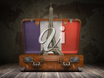 Trip to Paris. Travel or tourism to France concept. Eiffel tower and vintage suitcase with flag of France on the map of world background. 3d illustration