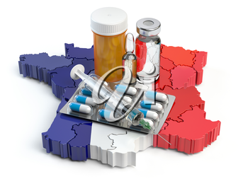 Health, healthcare, medicine and pharmacy in France concept. Pills, vials and syringe on the map of France isolated on white background. 3d illustration
