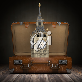 Trip to London. Travel or tourism to England or Great Britain concept. Big Ben tower in the open vintage suitcase. 3d illustration
