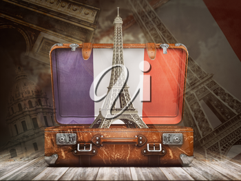 Trip to Paris. Travel or tourism to France concept. Eiffel tower andvintage suitcase with flag of France on the map of world background. 3d illustration