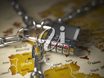 GDPR UA General Data Protection Regulation concept. Padlock with GDPR code on the map of Europe. 3d illustration