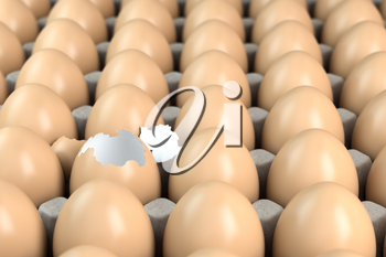 Cardboard tray with brown eggs, one egg is broken. Leader or individuality concept. 3d illustration