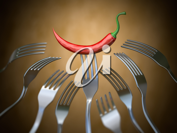 Red hot chili pepper stuck on the fork around of differents forks, Competition, unique , individuality and prize concept. 3d illustration