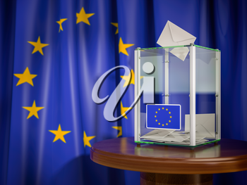 Ballot box with European Union EU flag. 3d illustration