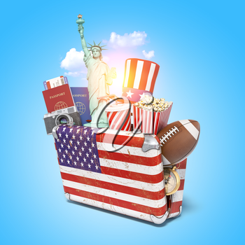 Trip or travel to New York and USA concept. National and cultural symbols of United States in the vintage suitcase, 3d illustration