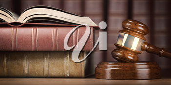 Justice, law and legal concept. Judge gavel and law books. 3d illustration