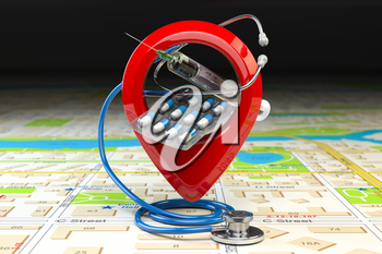 Hospital or pharmacy location and direction concept. Pin or map point with pills, stethoscope and jerring on the map of the city. 3d illustration
