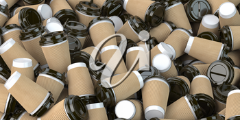 Heap of many empty paper coffee cups. Recycling of plastic waste concept. 3d illustration