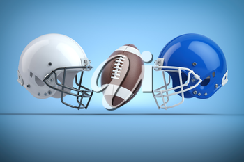 American football helmets and ball.Final match concept.Space for text. 3d illustration