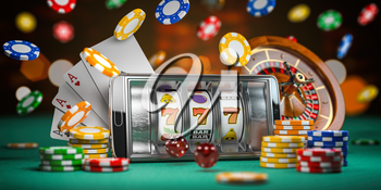 Online casino. Smartphone or mobile phone, slot machine, dice, cards and roulette on a green table in casino. 3d illustration