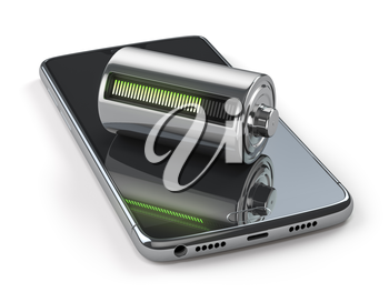 Charging of a mobile phone battery concept.  Smartphone and battery charge indicator isolated on white. 3d illustration