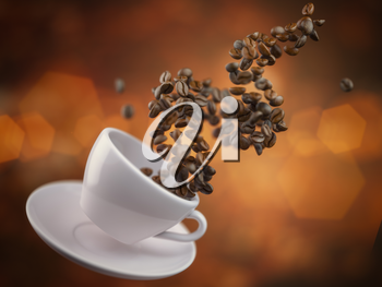 Coffee cup with coffee beans. Space for text. 3d illustration