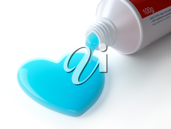 Toothpaste in the shape of heart coming out from toothpaste tube. Brushing teeth dental concept. 3d illustration