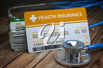 Health care medical Insurance card  and stethoscope as a symbol of  medicine on the wood background. 3d illustration