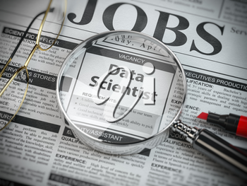 Data scientist vacancy in the ad of job search newspaper with loupe. 3d illustration