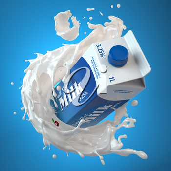 Milk carton box or packaging of milk and splash of milk on blue background. 3d illustration