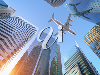 Airplane flying over skyscrapers n city downtown district. Business corporate travel background concept. 3d illustration